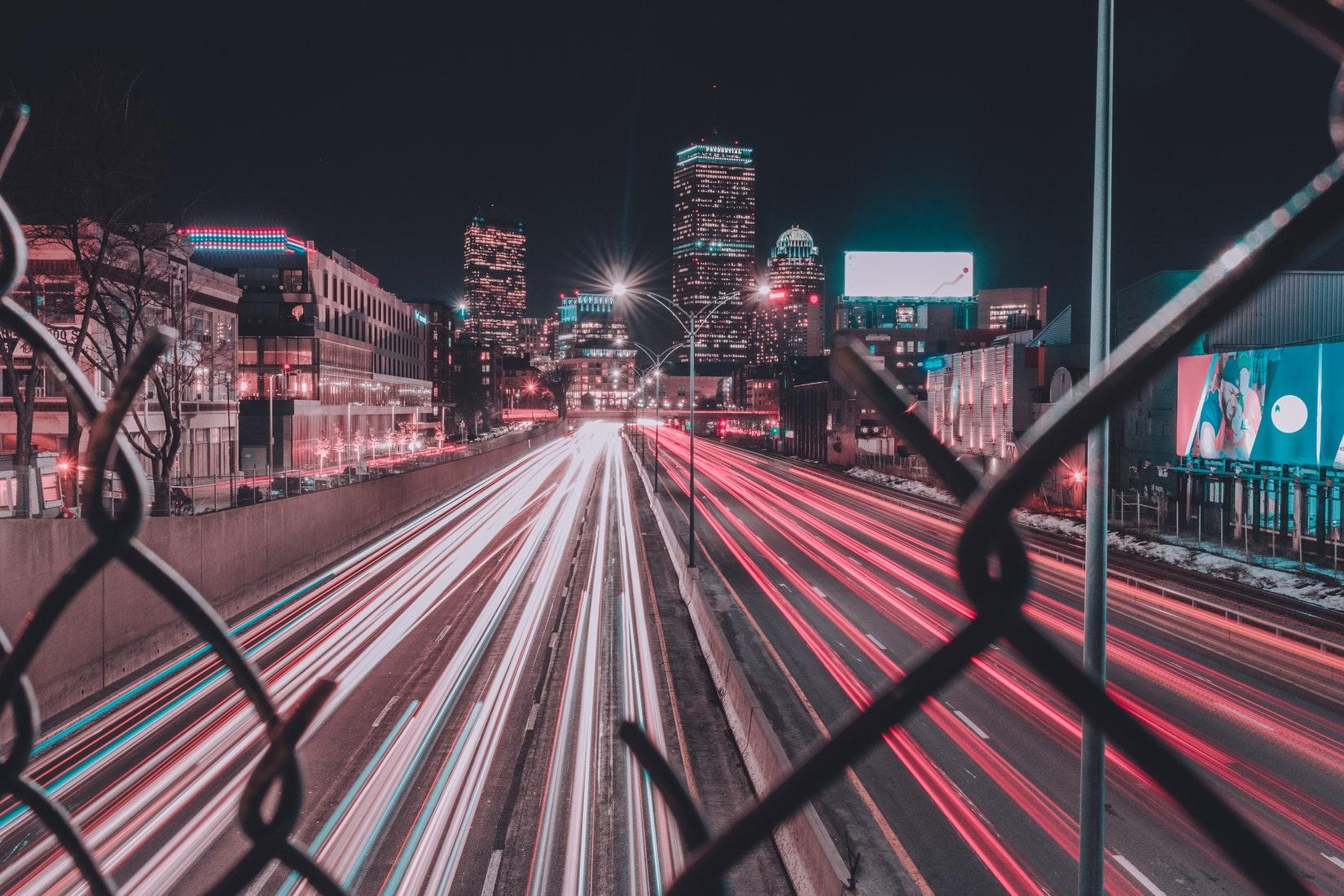 Boston skyline and expressway at night