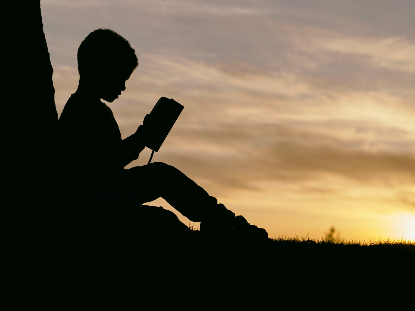 Boy reading by sunset