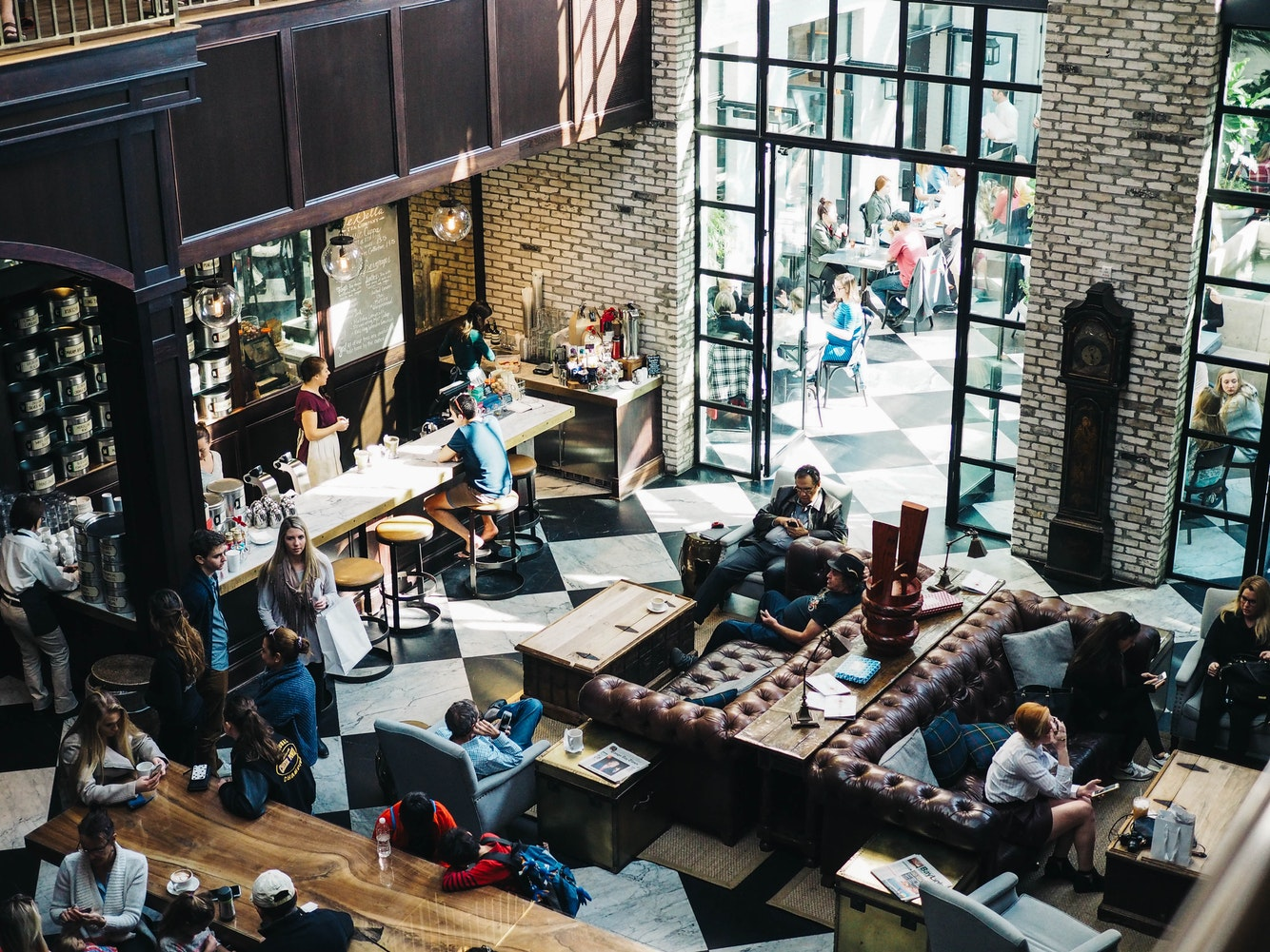 Busy cafe workspace