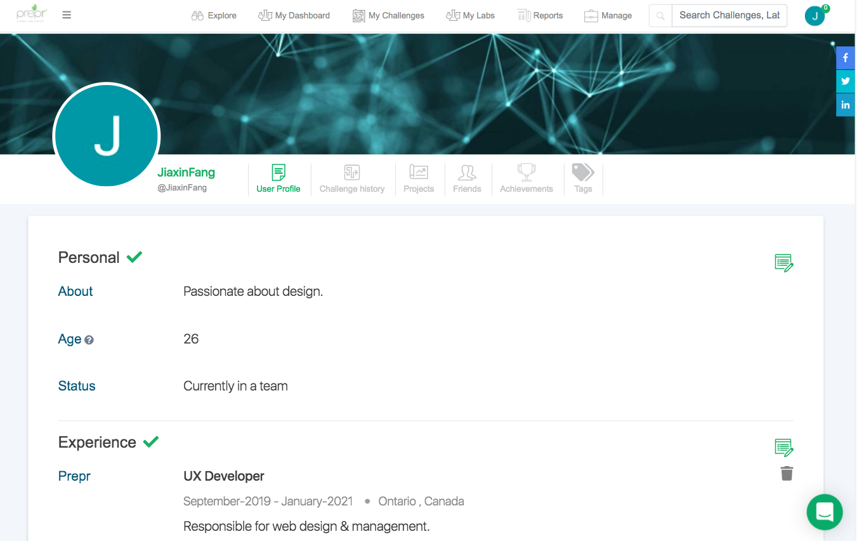 Prepr Platform Profile Page